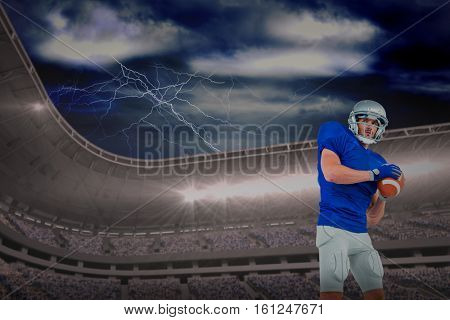 3D Confident American football player throwing the ball against thunderstrom over landscape