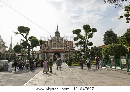 BANGKOK THAILAND - NOV 19 : scene of in front of temple hall at Wat Arun temple on november 19 2016. Wat Arun is one of popular tourism place in Bangkok