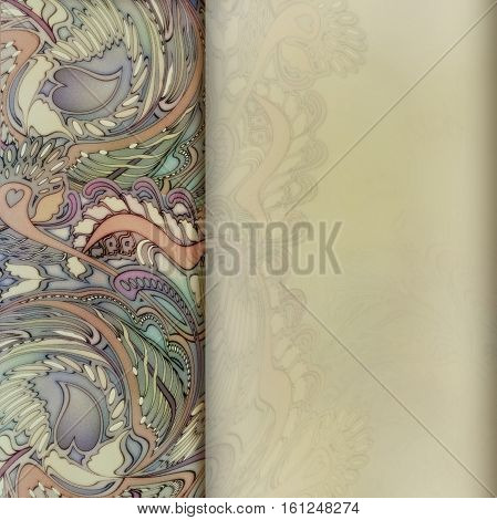 grainy watercolor floral ornament on beige colored background