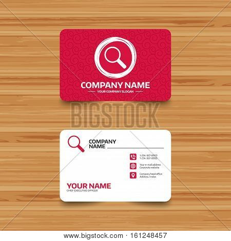 Business card template with texture. Magnifier glass sign icon. Zoom tool button. Navigation search symbol. Phone, web and location icons. Visiting card  Vector