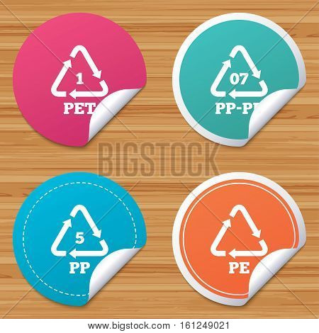 Round stickers or website banners. PET 1, PP-pe 07, PP 5 and PE icons. High-density Polyethylene terephthalate sign. Recycling symbol. Circle badges with bended corner. Vector
