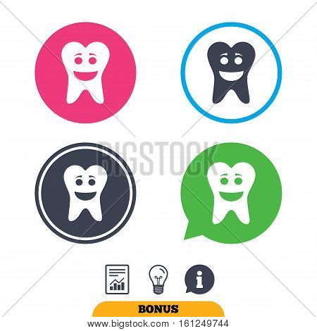 Tooth happy face sign icon. Dental care symbol. Healthy teeth. Report document, information sign and light bulb icons. Vector
