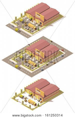 Vector isometric low poly produce warehouse building with trucks and forklifts