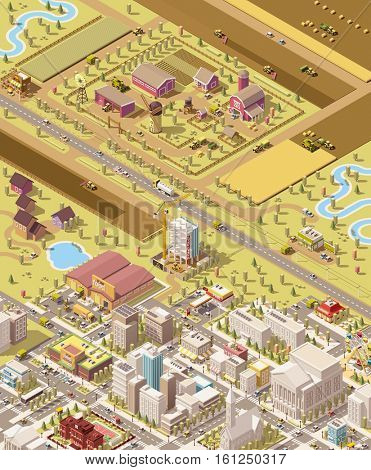 Vector isometric low poly farm and city. Illustration represents farm buildings and machinery harvesting the fields, trucks delivering produces to the farmer store, produce warehouse, and supermarket