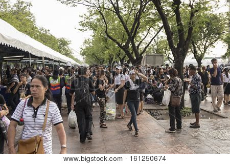 BANGKOK THAILAND - OCT 19 : scene of people in Sanam Luang area while the royal funeral of king Bhumibol Adulyadej in Grand Palace on october 19 2016