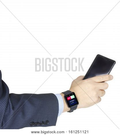 Isolated female hand with smartwatch with phone call on the screen