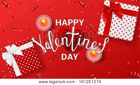 Happy Valentine's Day greeting red banner. Top view on romantic composition with gift boxes and red case for ring. Beautiful backdrop with candles. Vector illustration with lettering.
