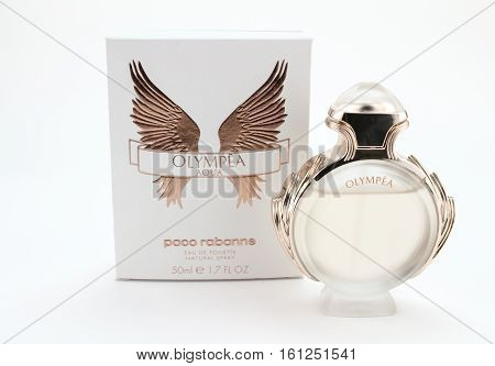 QUEENSTOWN SOUTH AFRICA - DECEMBER 04 2016: Photo of Olympea Eau de Toilette and box on white background