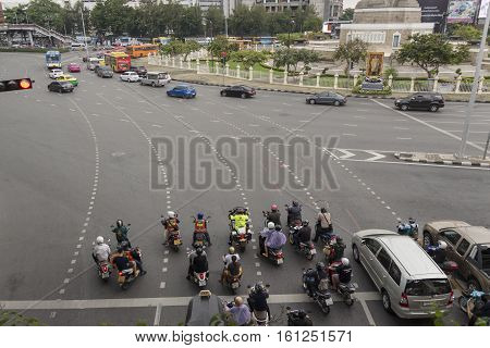 BANGKOK THAILAND - NOV 25 : car in traffic at Victory Monument on november 25 2016 thailand.