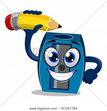 Vector Illustration of Sharpener Mascot sharpening Pencil