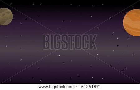Illustration vector of outer space landscape collection stock