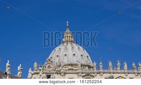 ROMA, ITALY, 15 MAY 2015, Birds over St. Peter's Basilica Vatican TELEPHOTO