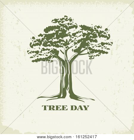 Concept of landscape design.Silhouette of tree with foliage on kraft paper background.Organic Sign, logo.
