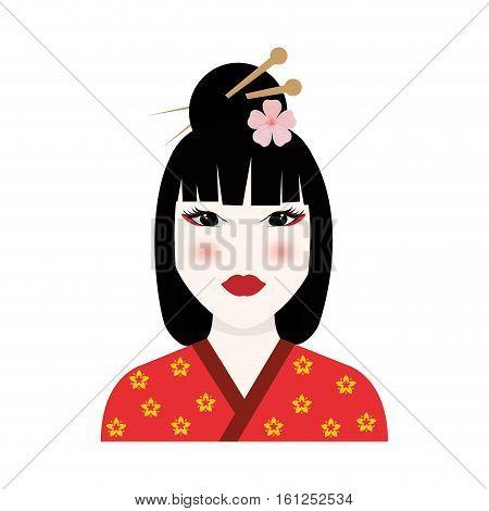 Beautiful geisha face icon vector illustration graphic design