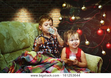 Christmas party . Brother and sister wrapped in a blanket drinking milk with cookies