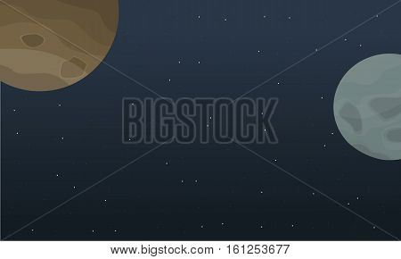 Illustration of outer space landscape collection stock