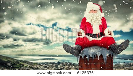 3D Doubtful santa sitting alone against landscape of city and cloudy sky