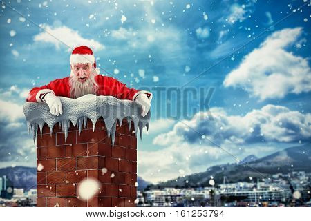 3D Santa Claus peeking over wall against city with harbour