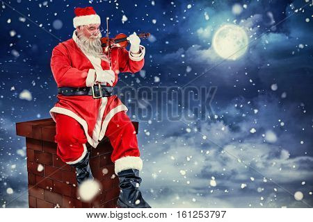 3D Smiling Santa Claus playing violin on chair against night sky