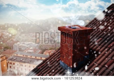 3D Snow falling against beautiful view over houses