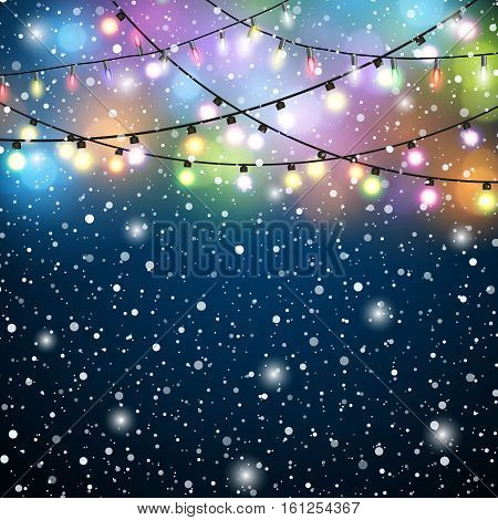 Glowing Lights - Colorful Fairy Lights Background. Christmas Lights Background. Flying snowflakes on a blue background. Vector illustration