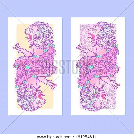 Vertical banners with Zodiac Leo and a decorative frame of roses. Astrology web element. Tattoo design. Sketch in pastel pallette isolated on elegant pattern background. EPS10 vector illustration