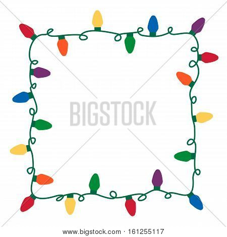 Vector illustration of colorful Christmas lights border