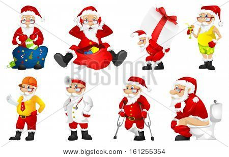 Set of Santa Claus characters sitting near a bag full of gifts. Stressed Santa Claus looking at sack full of gifts. Santa Claus carrying gift box. Vector illustration isolated on white background.