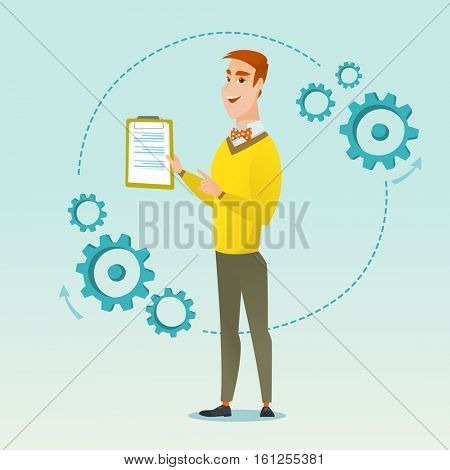 Caucasian businessman using clipboard for business presentation. Cheerful young businessman giving business presentation. Business presentation concept. Vector flat design illustration. Square layout.