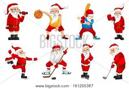 Set of sporty Santa Claus characters playing sports games. Set of cute Santa Claus characters dressed as sportsmen. Santa Claus playing basketball. Vector illustration isolated on white background.