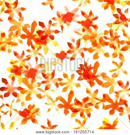 A seamless background pattern with hand painted yellow watercolor abstract flowers