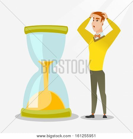 Caucasian businessman looking at hourglass symbolizing deadline. Young businessman worrying about deadline terms. Time management and deadline concept. Vector flat design illustration. Square layout.