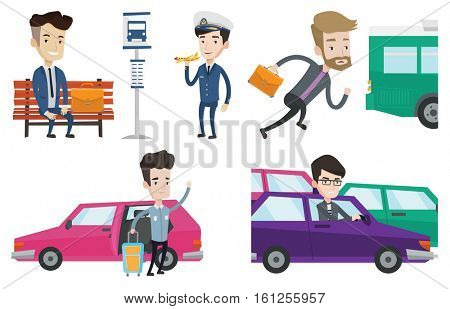 Caucasian man with suitcase standing on the background of car. Irritated man driving a car in a traffic jam. Man traveling by car. Set of vector flat design illustrations isolated on white background.