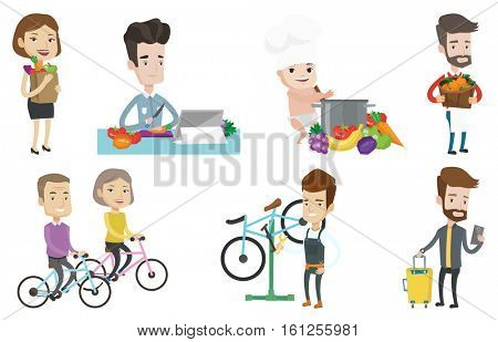 Caucasian man cutting vegetables for salad. Man following recipe for vegetables salad on digital tablet. Man cooking healthy salad. Set of vector flat design illustrations isolated on white background