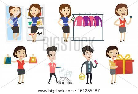 Woman shocked by prices in clothes store. Woman looking at price tag in clothes store. Woman staring at price tag in clothes store. Set of vector flat design illustrations isolated on white background