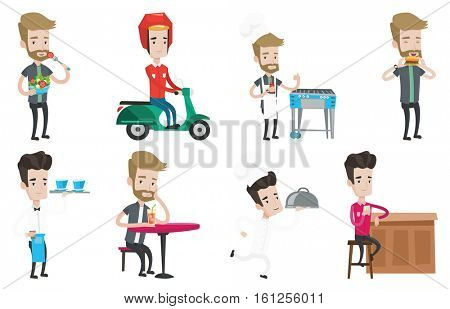 Young caucasian courier delivering food on scooter. Courier driving a motorbike and delivering food. Concept of food delivery. Set of vector flat design illustrations isolated on white background.