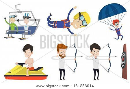 Two happy caucasian men sitting on ski elevator. Skiers using cableway at ski resort. Skiers on cableway at winter sport resort. Set of vector flat design illustrations isolated on white background.