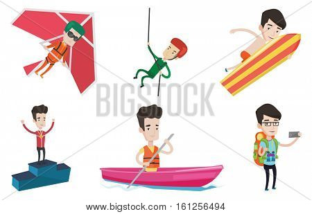 Sportsman celebrating on the winners podium. Young caucasian sportsman with medal standing on the winners podium. Winner concept. Set of vector flat design illustrations isolated on white background.