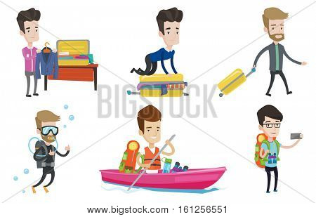 Caucasian man sitting on suitcase and trying to close it. Man packing his clothes in suitcase. Man preparing suitcase for vacation. Set of vector flat design illustrations isolated on white background