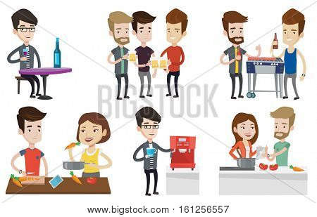 Caucasian men toasting and clinking glasses of beer. Young men clanging glasses of beer. Group of friends drinking beer at pub. Set of vector flat design illustrations isolated on white background.