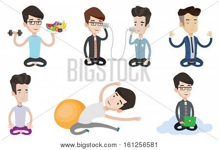 Young peaceful man meditating in yoga lotus pose. Caucasian man relaxing in the yoga lotus position. Sportsman doing yoga. Set of vector flat design illustrations isolated on white background.