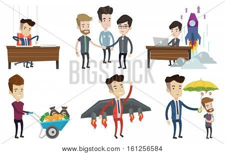 Business partners joining hands. Business partners putting hands together. Business partners stacking hands. Partnership concept. Set of vector flat design illustrations isolated on white background.