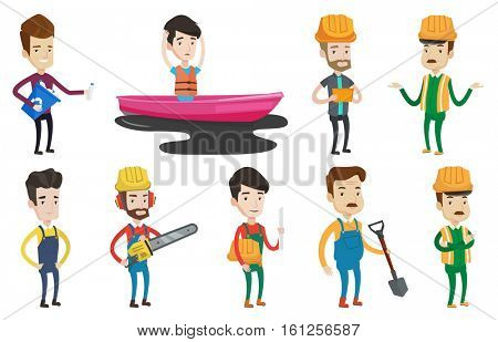 Man with recycling bin in hand picking up used plastic bottles. Man collecting garbage in recycle bin. Waste recycling concept. Set of vector flat design illustrations isolated on white background.