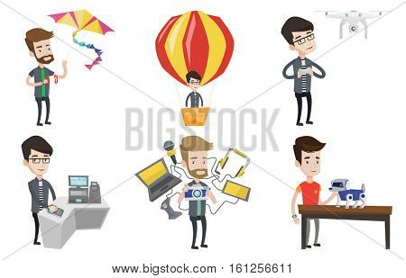 Young caucasian man flying drone with remote control. Happy man operating a drone with remote control. Man controling a drone. Set of vector flat design illustrations isolated on white background.