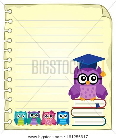 Notepad page with owl teacher and owlets - eps10 vector illustration.