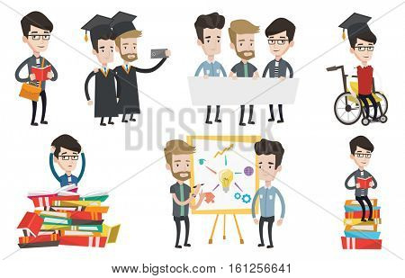 Cheerful graduates in cloaks and graduation caps making selfie. Excited graduates taking photo with cellphone. Graduation concept. Set of vector flat design illustrations isolated on white background.