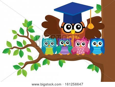 Owl teacher and owlets theme image 5 - eps10 vector illustration.
