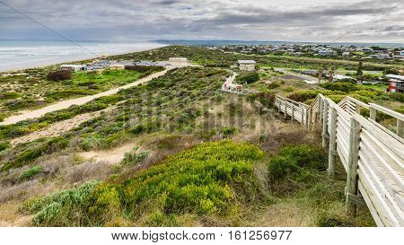 Goolwa Australia - August 14 2016: Picturesque view at Goolwa beach from the lookout trail on a day