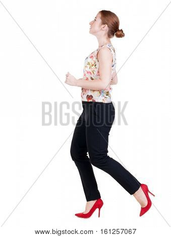 running business woman. back view. going young girl in  suit. Rear view people collection.  back side view of person.  Isolated over white background.