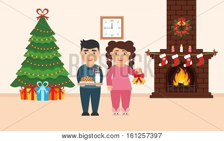 Festive design of the room. Brick fireplace Christmas wreath milk and cookies for cute Santa festive decorated treegifts girl and boy. Vector in flat style. Merry Christmas and Happy New year.